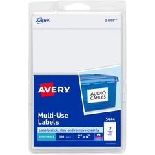 AVE 05444 Avery Removable Print/Write Rectangular Labels AVE05444