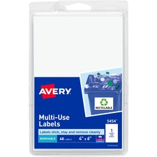 AVE 05454 Avery Removable Print/Write Rectangular Labels AVE05454