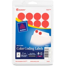 AVE 05467 Avery Round Removable Custom Color-coding Labels AVE05467