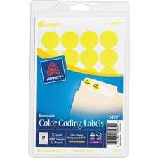 AVE 05470 Avery Round Removable Custom Color-coding Labels AVE05470