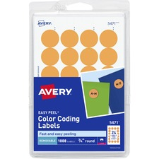 AVE 05471 Avery Round Removable Custom Color-coding Labels AVE05471