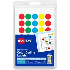 AVE 05473 Avery See Through Color Dots AVE05473