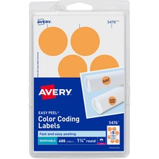 AVE 05476 Avery Round Removable Custom Color-coding Labels AVE05476