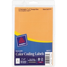 AVE 05477 Avery Removable Print/Write Color Coding Labels AVE05477