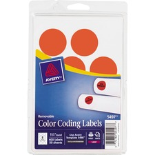 AVE 05497 Avery Round Removable Custom Color-coding Labels AVE05497