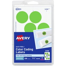 AVE 05498 Avery Round Removable Custom Color-coding Labels AVE05498