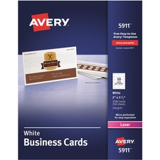 "Avery® Laser Print Business Card - 2"" x 3 1/2"" - 0% Recycled Content - 2500 / Box - White"