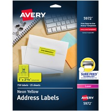 AVE5972 - Avery&reg Neon Rectangular Labels for Laser and/or Inkjet Printers