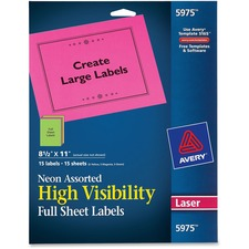 AVE5975 - Avery&reg Neon Rectangular Labels for Laser and/or Inkjet Printers