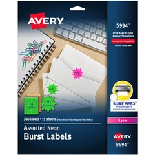 AVE 5994 Avery Neon Burst Laser Printable Labels AVE5994