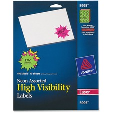AVE 5995 Avery Neon Burst Laser Printable Labels AVE5995