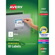 AVE 6464 Avery Removable I.D. Laser/Inkjet Labels AVE6464