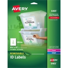 AVE 6465 Avery Removable I.D. Laser/Inkjet Labels AVE6465