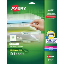 AVE 6467 Avery Removable I.D. Laser/Inkjet Labels AVE6467