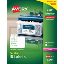 AVE 6578 Avery Permanent Durable ID Laser Labels AVE6578