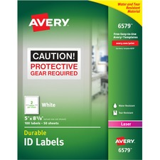 AVE 6579 Avery Permanent Durable ID Laser Labels AVE6579
