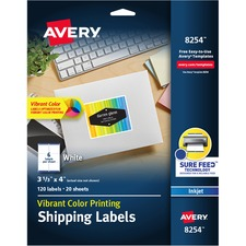 AVE 8254 Avery Matte White Inkjet Printing Mailing Labels AVE8254