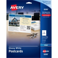 AVE 8383 Avery Perforated Inkjet Printer Postcards AVE8383