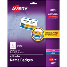 AVE8395 - Avery&reg Flexible Adhesive Name Badge Labels