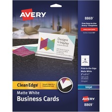 AVE 8869 Avery Clean Edge Custom 2-Sided Business Cards AVE8869