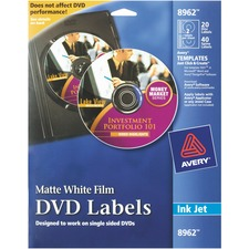 AVE 8962 Avery Clear Inkjet Matte DVD Labels AVE8962