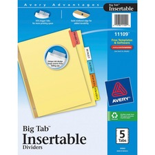 AVE11109 - Avery&reg Big Tab Buff Colored Insertable Dividers - Gold Reinforced