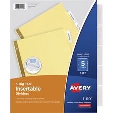 AVE 11110 Avery Worksaver Big Tab Insertable Dividers AVE11110
