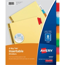 AVE11111 - Avery&reg Big Tab Buff Colored Insertable Dividers - Gold Reinforced