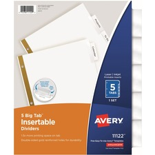 AVE 11122 Avery Worksaver Big Tab Insertable Indexes AVE11122