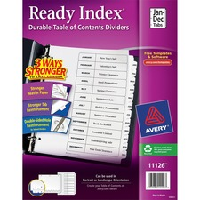 AVE 11126 Avery Ready Index Jan-Dec Tab TOC Dividers AVE11126