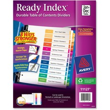 AVE 11127 Avery Jan-Dec Customizable TOC Dividers AVE11127