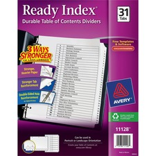 AVE 11128 Avery Black & White Table Contents Dividers w/Tabs AVE11128