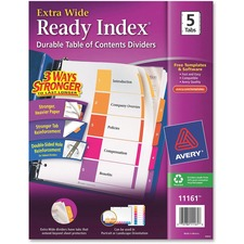 AVE 11161 Avery Xtra Wide Multi Table of Cont Index Dividers AVE11161