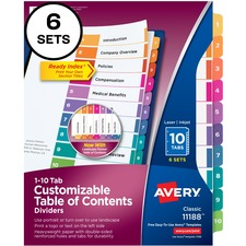 AVE11188 - Avery&reg Ready Index Customizable Table of Contents Classic Multicolor Dividers