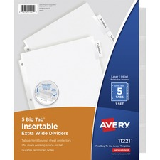 AVE 11221 Avery Extra-Wide Big Tab Insertable Dividers AVE11221