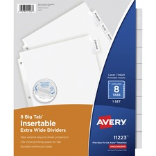 AVE11223 - Avery® Big Tab Extra Wide White Insertable Dividers - Clear Reinforced