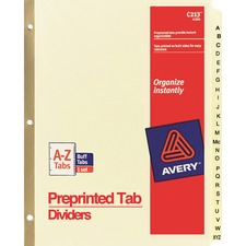 AVE11306 - Avery&reg Laminated Pre-printed Tab Dividers - Gold Reinforced