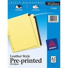 AVE 11323 Avery A-Z Clr Reinforced Red Leather Tab Dividers AVE11323
