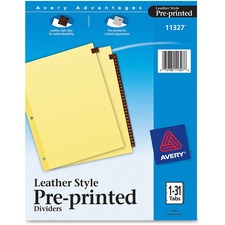 AVE11327 - Avery® Red Leather Pre-printed Tab Dividers - Clear Reinforced