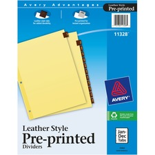 AVE 11328 Avery Monthly Reinforced Red Leather Tab Dividers AVE11328