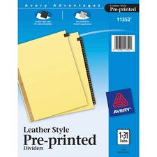AVE11352 - Avery&reg Black Leather Pre-printed Tab Dividers - Gold Reinforced