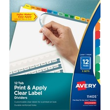 AVE 11405 Avery Index Maker Clear Label 3HP Dividers AVE11405