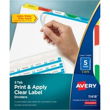 AVE 11418 Avery Index Maker Clear Label 3HP Dividers AVE11418