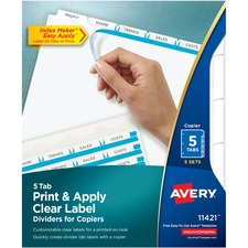 AVE11421 - Avery&reg Index Maker Print & Apply Clear Label Dividers with White Tabs for Copiers