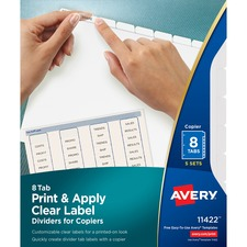 AVE11422 - Avery&reg Index Maker Print & Apply Clear Label Dividers with White Tabs for Copiers