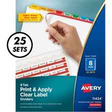 AVE 11424 Avery Index Maker Clear Label 3HP Dividers AVE11424