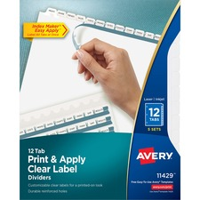 AVE11429 - Avery&reg Index Maker Print & Apply Clear Label Dividers with White Tabs