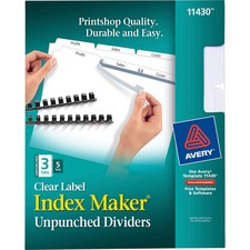AVE11430 - Avery® Index Maker Print & Apply Clear Label Dividers with White Tabs - Unpunched