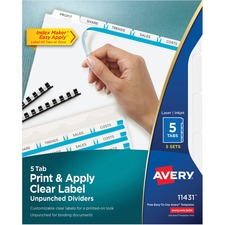 AVE11431 - Avery&reg Index Maker Print & Apply Clear Label Dividers with White Tabs - Unpunched