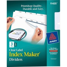 AVE11435 - Avery&reg Index Maker Print & Apply Clear Label Dividers with White Tabs